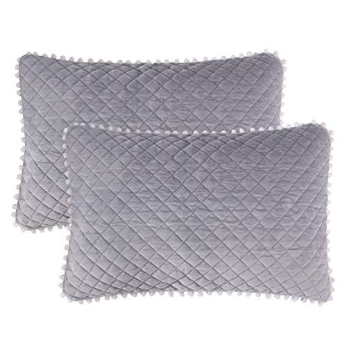 Quilted Diamond Sham - LIFEREVO 2 Pack Diamond Quilted Crystal Velvet Mink Pillowcases Pompoms Fringe Zipper Closure (Standard/Queen Gray)