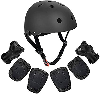 Weanas Kids Youth Sports Protective Gear Set Helmet Knee Elbow Wrist Pads Cycling Helmet Safety Pad Safeguard for Skateboarding Skating