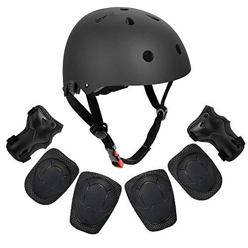 Weanas Kids Youth Sports Protective Gear Set, Helmet Safety Pad Safeguard for Skateboarding, Skating, Cycling (Helmet Knee Elbow Wrist Pads) (Black M)