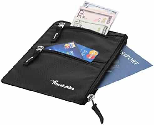 Travelambo Hidden Travel Belt Wallet w/ RFID Blocker Money Belt Passport Holder Wallet Cover Case