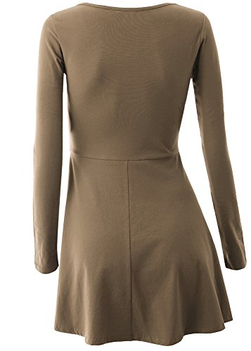 Trapeze Women Long Sleeve Coffee Lace Demetory Tunic up Dress Neckline Plunge wX8UqdU