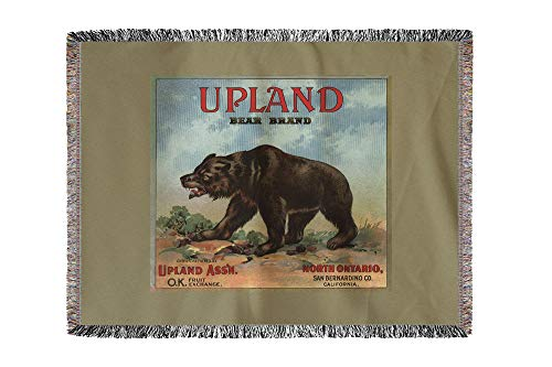 (Lantern Press Upland Bear Brand - North Ontario, California - Citrus Crate Label 57799 (60x80 Woven Chenille Yarn Blanket))