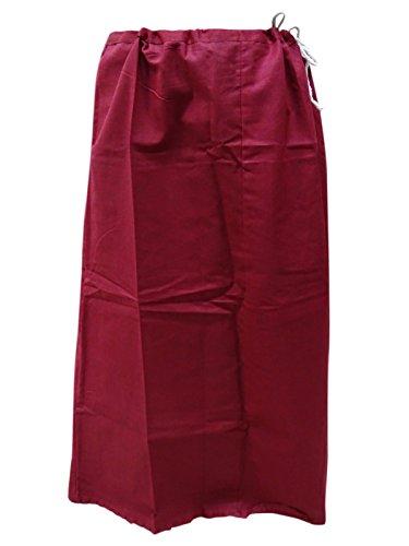 PEEGLI Jupon De sous Jupe Readymade De Coton De Jupon De Femmes pour Saree Bordeaux