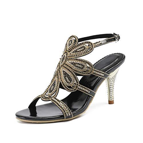 EARIAL& Women's Summer Leather Rhinestone Sandals Silver Gold Ankle Strap High Heels Sandals Women 8cm Sandalia Feminina Black 6.5