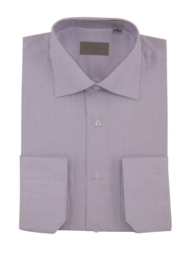 DTI DARYA TRADING Mens Dress Shirt Spread Collar Cotton Convertible Cuffs Narrow Stripe 4 Colors (14
