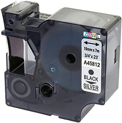 Compatible Casete D1 45812 negro sobre plata 19mm x 7m cinta para ...