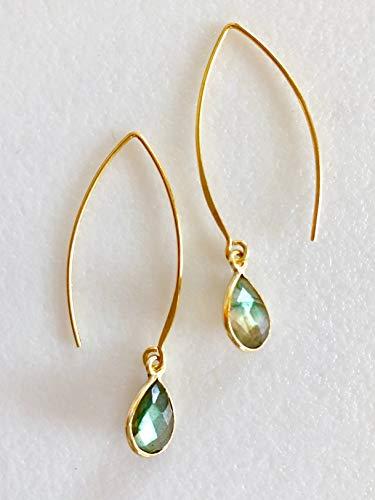 Labradorite Earrings, Natural Labradorite Gemstone, Green/Blue/Yellow Iridescent Teardrops, 24K Gold Vermeil.