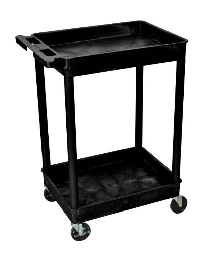 Offex OF-STC11-B 2 Shelf Mobile Home Office Storage Tub Utility Cart, Black ()