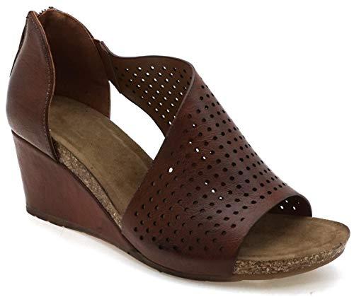 MVE Shoes Women's Stylish, Soft and Comfortable Open Toe Side Cutout Wedge Heel, Podium-2 Whiskey 6 ()