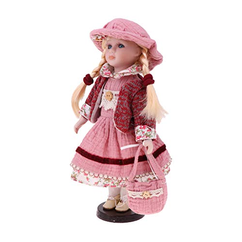 Fityle 30cm Porcelain Doll Victorian Girl Figures with Wooden Stand Kids Adult Collections