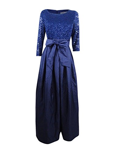 Jessica Howard Women's Lace A-Line Gown (12, Navy)