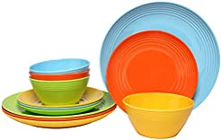Melange 12-Piece Melamine Dinnerware Set (Solids Collection) | Shatter-Proof and  sc 1 st  Amazon.com & Amazon.com: Melamine - Dinnerware Sets / Dining \u0026 Entertaining: Home ...