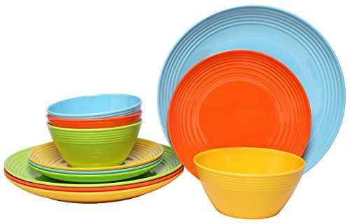 Melange 12-Piece Melamine Dinnerware Set (Solids Collection) | Shatter-Proof and Chip-Resistant Melamine Plates and Bowls | Color Multicolor | Dinner Plate, Salad Plate & Soup Bowl (4 (Melamine Colorful Melamine Dinnerware)
