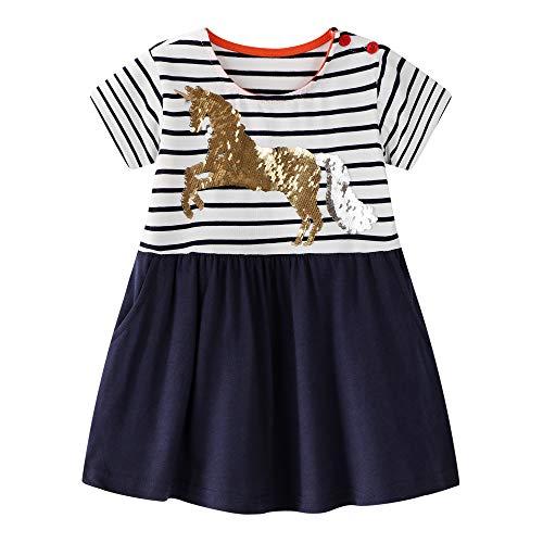 Toddler Girls Dress Unicorn Playwear Dress Tunic Skirt with Pocket for Kids 5t