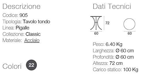 EMU Tavolo per Esterno Pigalle Kiss Diametro 60 CM in Ferro ZINCATO E Verniciato A POLVERI Prodotto Made in Italy Colore Ferro Antico Fantasia 22