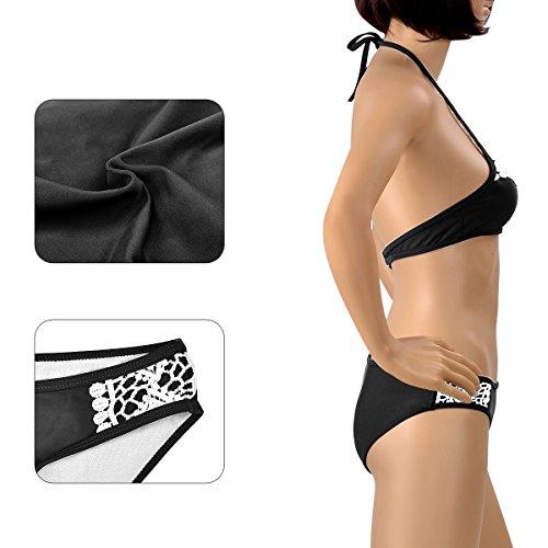 Bikini Donne Delle Pizzo Di Serbatoio Loel Set Modo Capestro Black Imbottitura Splicing BqgFBAxr