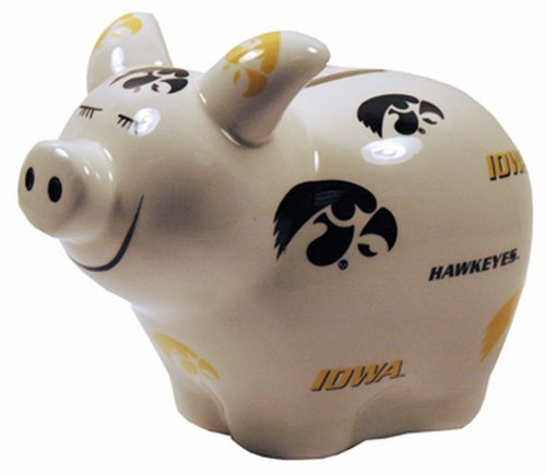 Iowa Hawkeyes Bank Piggy (Game Day Outfitters NCAA Iowa Hawkeyes Piggy Bank with All Over Logo)