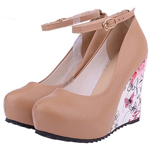 AIYOUMEI Damen Knöchelriemchen Keilabsatz Pumps mit Plateau und 10cm Absatz Bequem Modern High Heels Schuhe Aprikose