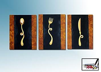 posate - quadri cucina dimensione: 120x50cm (3 moduli: 40x60cm ... - Quadri Per Cucina Moderna