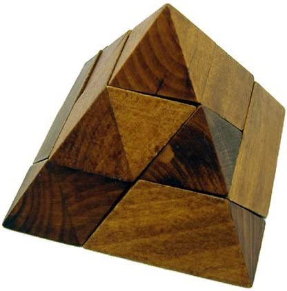 2.5 Wooden Pyramid Shape Brain Teaser 3D Puzzle Maple Brown