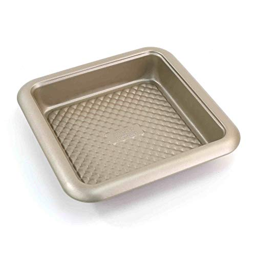 Chicago Metallic 5228730 Arch Textured Non-Stick Square Cake Baking Pan, 8-Inch, Champagne
