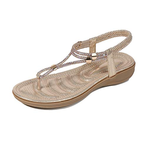 BOLUBILUY Women's Wide Width Flat Sandals,Elastic Strappy String Ankle Strap Summer Flat Beach Flops Flip Casual Shoes -