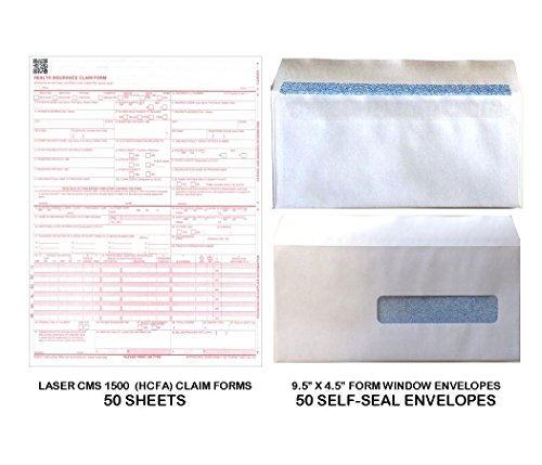 New CMS 1500 - HCFA Insurance Claim Forms and Self-Seal No. 10-1/2 Tinted Window Envelopes - 50 FORMS AND ENVELOPES