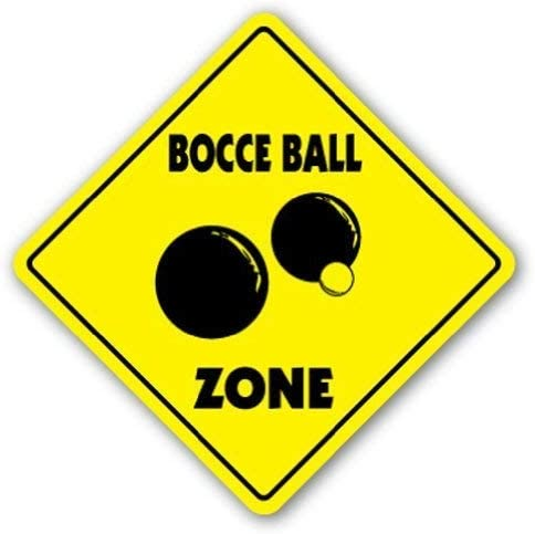 HNNT Aluminum Metal Sign 12x16 INCHES Funny Sign Gift Bocce Ball Zone Sign Sport Game Team Outdoor Aluminum Sign for Wall Decor