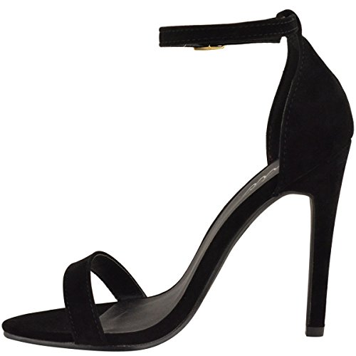 Moda Donna Assetata Strappy Stiletto Tacco Alto Sandali Cinturino Alla Caviglia Polsino Peep Toe Taglia Nero Faux Suede