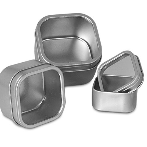 Windowed Square Silver Tins, 4oz (24 Per Pack)