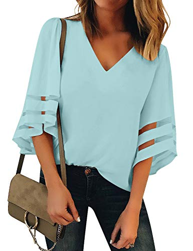 Luyeess Women's Casual V Neck Loose Mesh Panel Chiffon 3/4 Bell Sleeve Blouse Top Shirt Tee Light Blue, Size XXL(US - 3/4 Sleeve Blouse Top