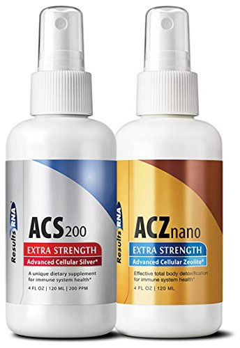 Total Body Detox  Results RNA ACZ Nano Advanced Cellular Zeolite Extra Strength  & ACS 200 Extra Strength Colloidal Silver,4 oz(pack of 2)