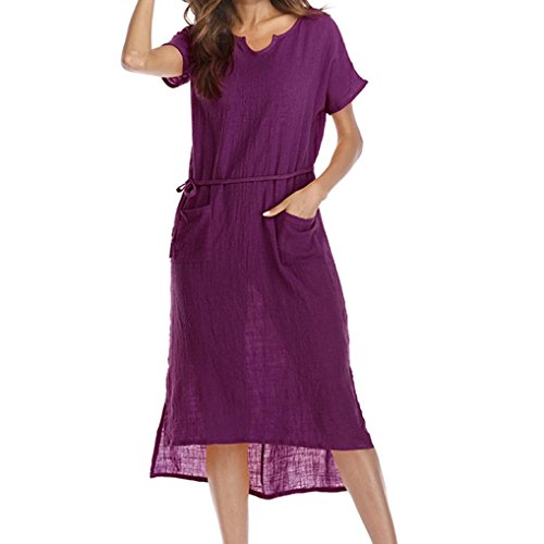 Women Pocket Waist Hem Asymmetrical Summer Large Size Casual V-Colla Loose Dress by (Envelope Hem Dress)