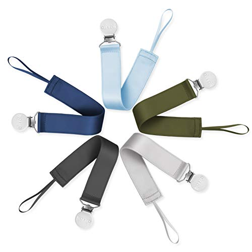 - Ali+Oli Modern Pacifier Clips (Set of 5) Soft Satin Polyester Soothie Leash Holders - Binkie Clip for Teething Toys & Pacifiers - Universal Fit for All Brands - Perfect for Your Baby Boy
