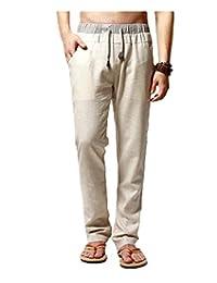 Elonglin Mens Casual Linen Pants Comfortable Trousers Elastic Waist Drawstring