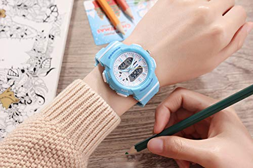 PASNEW Kid Watch Multi Function Digital-Analog Sport Watches for 6-Year Old or Above Children-LightBlue by PASNEW (Image #4)