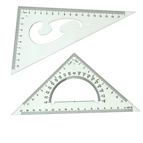 (BronaGrand Triangle Ruler Square Set, 30/60 and 45/90 Degrees, Set of 2)