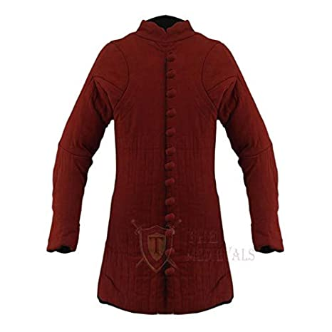 Red Cotton Fabrics Medieval Gambeson Thick Padded Long Coat Aketon Jacket Armor Costume