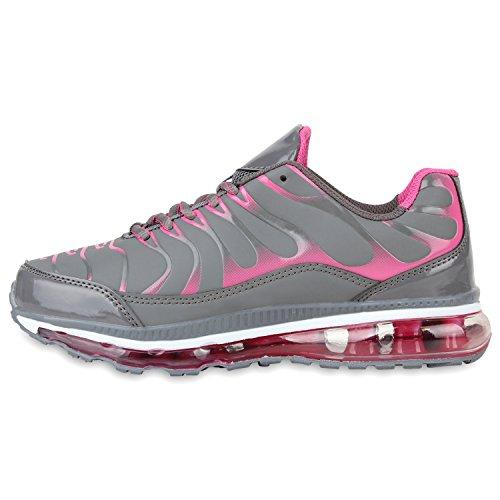 Stiefelparadies Damen Sportschuhe Muster Laufschuhe Neon Sneakers Sneaker Low Schuhe Profilsohle Schnürer Damenschuhe Sport Flandell Grau Pink Carlet