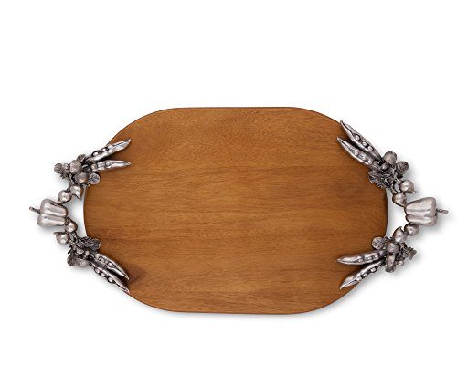 Vagabond House Pewter Veggie Oval Wood Cheese Tray 22 Inches Long