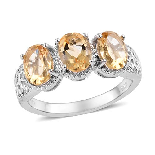Shop LC Delivering Joy Statement Ring Oval Citrine Platinum Plated Jewelry for Women Size 5 Ct 2.9