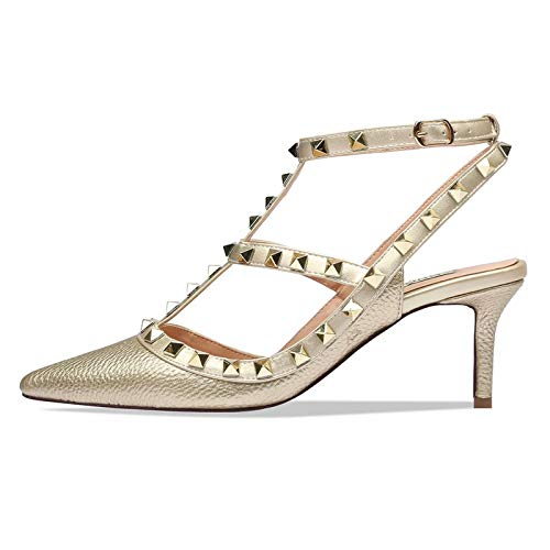 CAITLIN-PAN Women's Stud Kitten Heels Pointed Toe Studded Strappy Slingback Buckle Heels Leather Pumps Stilettos Sandals Gold Pattern Size 8 US