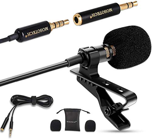 """MOSOTECH Lavalier Microphone, 3.5mm Clip On Lapel Mic Omnidirectional Condenser Microphone with 79"""" Extension Cable for Recording YouTube Interview, 138"""" Length Total"""