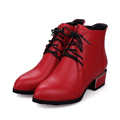 AllhqFashion Womens Low-top Lace-up Soft Material Low-Heels Pointed Closed Toe Boots Red 8tnqt