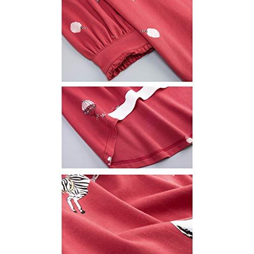 A Domicilio Sueltos Rojo M Camisón Señoras 1 Servicio Manga Larga Pijamas Algodón Largo 1 Size De color Pwq0v8