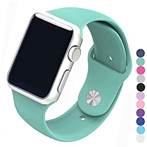Piwjo Silicone Apple Watch Band and Replacement Iwatch Bands Series 1,Series 2,Series 3 (42mm S/M, Mint Green)