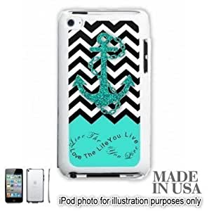 Anchor Live the Life You Love Infinity Quote - Aqua Black White Chevron with Anchor iPOD 4 Touch 4th Generation Hard Case - WHITE by Unique Design Gifts [MADE IN USA]