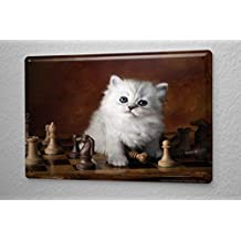 Tin Sign Cat Decoration Puppy Kitten Chessboard Metal Plate 8X12
