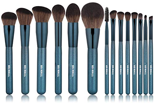 BS-MALL Makeup Brushes Premium Synthetic Foundation Powder Concealers Eye Shadows Silver Black Makeup Brush Sets(14 Pcs, Blue)