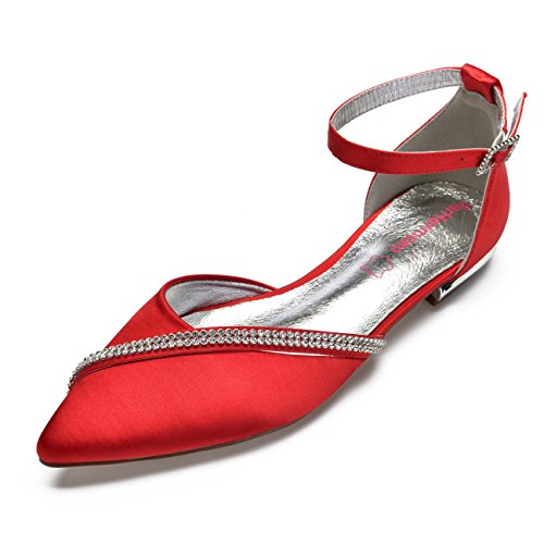 MarHermoso Women's Satin Ankle Strap Pointed Toe Rhinestones Comfort Flats Wedding Bridal Shoes Red